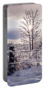 Fence And Tree Frozen In Ice Portable Battery Charger