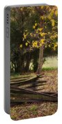 Fence And Tree In Autumn Portable Battery Charger