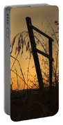 Fence At Sunset I Portable Battery Charger