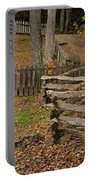 Fence In Autumn Portable Battery Charger