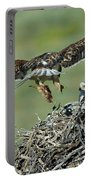 Ferruginous Hawk Bringing Food To Young Portable Battery Charger