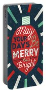 Festive Holiday Light Bulb Merry And Bright Portable Battery Charger