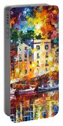 Few Boats - Palette Knife Oil Painting On Canvas By Leonid Afremov Portable Battery Charger