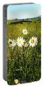 Field Of Flowers Portable Battery Charger by Les Cunliffe