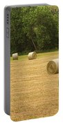 Field Of Freshly Baled Round Hay Bales Portable Battery Charger by James BO  Insogna