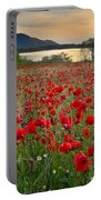 Field Of Poppies At The Lake Portable Battery Charger