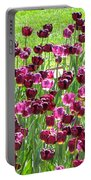 Field Of Purple Tulips 1 Portable Battery Charger