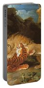Fight Between A Lion And A Tiger, 1797 Portable Battery Charger by James Ward