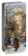 Figures On Le Boulevard St. Denis At Twilight Portable Battery Charger