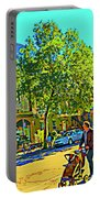 Fine Day For Baby Strollers And Bikes Art Of Montreal Street Scene Across Maitre Gourmet Cafe Portable Battery Charger