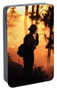Firefighter At Night On The White Draw Fire Portable Battery Charger