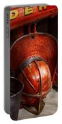 Fireman - Hats - I Volunteered For This  Portable Battery Charger by Mike Savad