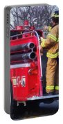 Fireman On Back Of Fire Truck Portable Battery Charger