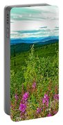 Fireweed And Mountains From Top Of The World Highway-yukon Portable Battery Charger
