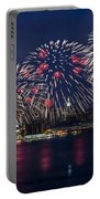 Fireworks And Full Moon Over New York City Portable Battery Charger
