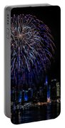 Fireworks In New York City Portable Battery Charger by Susan Candelario