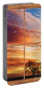 First Dawn Barn Wood Picture Window Frame View Portable Battery Charger