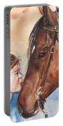 Horse Painting Of Paint Horse And Girl First Kiss Portable Battery Charger