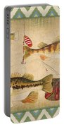Fish Trio-b-ikat Portable Battery Charger by Jean Plout