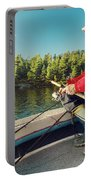 Fisherman Sitting On Foredeck Portable Battery Charger