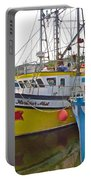 Fishing Boat Reflection In Branch-newfoundland-canada Portable Battery Charger