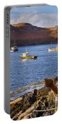 Fishing Boats At Anchor In A Quiet Bay On The Isle Of Skye In Sc Portable Battery Charger