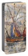 Fishing Boats In La Rochelle Portable Battery Charger by Paul Signac