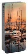 Fishing Fleet Sunset Boat Reflection At Fishermans Wharf Morro Bay California Portable Battery Charger