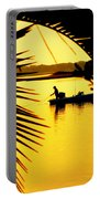 Fishing In Gold Portable Battery Charger by Karen Wiles