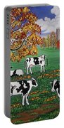 Five Black And White Cows Portable Battery Charger