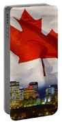 Flag Of Canada Over Albertas Capital Portable Battery Charger