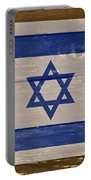 Israel National Flag On Wood Portable Battery Charger by Movie Poster Prints