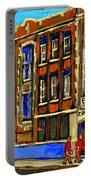 Flashback To Sixties Montreal Memories Baron Byng High School Vintage Landmark St. Urbain City Scene Portable Battery Charger by Carole Spandau