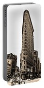 Flat Iron Building In Sepia Portable Battery Charger