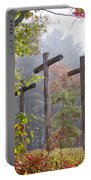 Flax Creek In The Fog Portable Battery Charger by Debra and Dave Vanderlaan