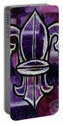 Fleur De Lis Purple Abstract Portable Battery Charger