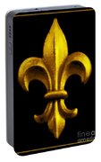 Fleur De Lis In Black And Gold Portable Battery Charger