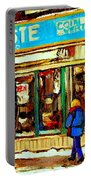 Fleuriste Notre Dame Flower Shop Paintings Carole Spandau Winter Scenes Portable Battery Charger