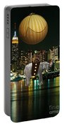 Flight Over The New York Skyline On A Hot Air Balloon Portable Battery Charger by Marvin Blaine
