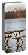 Flooded Park Bench Lunch Portable Battery Charger