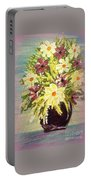 Floral Delight Acrylic Painting Portable Battery Charger