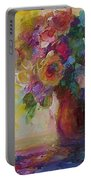 Floral Still Life Portable Battery Charger by Mary Wolf