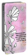 Floral Typography Word Art Quote Flowers And Butterflies By Megan Duncanson Portable Battery Charger