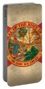 Florida State Flag Art On Worn Canvas Portable Battery Charger