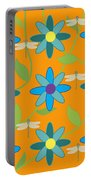 Flower And Dragonfly Design With Orange Background Portable Battery Charger