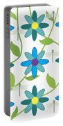 Flower And Dragonfly Design With White Background Portable Battery Charger