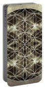 Flower Of Life Silver Portable Battery Charger by Filippo B