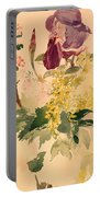 Flower Piece With Iris Laburnum And Geranium Portable Battery Charger