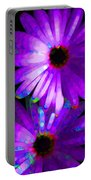 Flower Study 6 - Vibrant Purple By Sharon Cummings Portable Battery Charger by Sharon Cummings