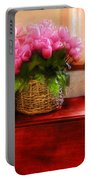 Flower - Tulips By A Window Portable Battery Charger by Mike Savad